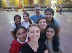 Visiting a temple - Isabell is the second on the left in the back row