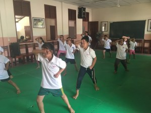The karate class at Ban Sikeud primary school