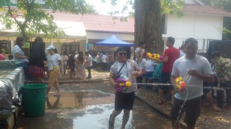 Students have fun with water...