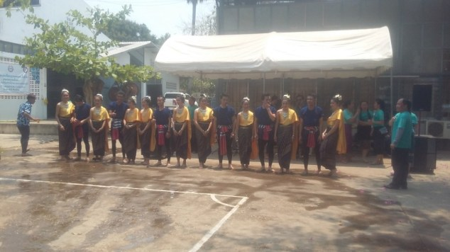 Students line up for the traditional dance