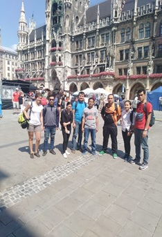 In front of the Marien church at the main square in Munich