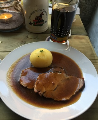 """Sauerbraten mit Kloessen"": Marinated pot roast with potato dumplings - a very traditional Bavarian dish"