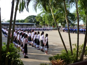 ... pupils are lined up in a U-shape