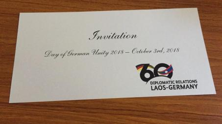 Invitation card for the 60 years of Lao-German diplomatic relations celebration
