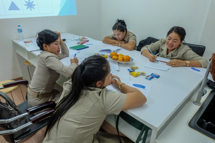 The English teachers Ms Donekeo Keosiththivong, Ms Souksakhone Sindavan, Ms Bounpheng Singhalath & Ms Mittaphone Sichampa brainstorm on our two questions.