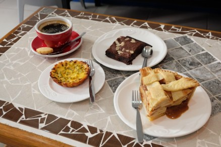 Our favorite deserts: Passionfruit tart, apple pie, and one of the best sellers, chocolate brownie.
