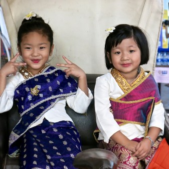 Girls in traditional Lao clothes, Vientiane