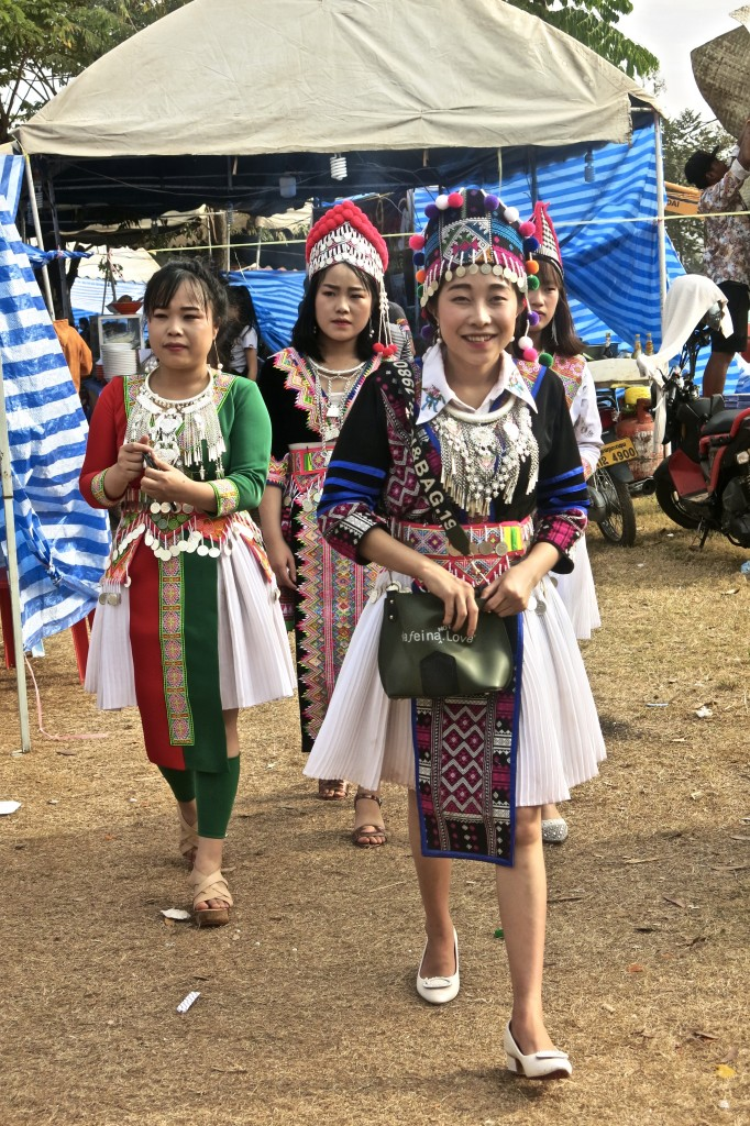 Girls in traditional Hmong clothes