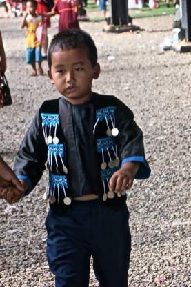 Boy wearing Hmong traditional clothes, Vientiane Province