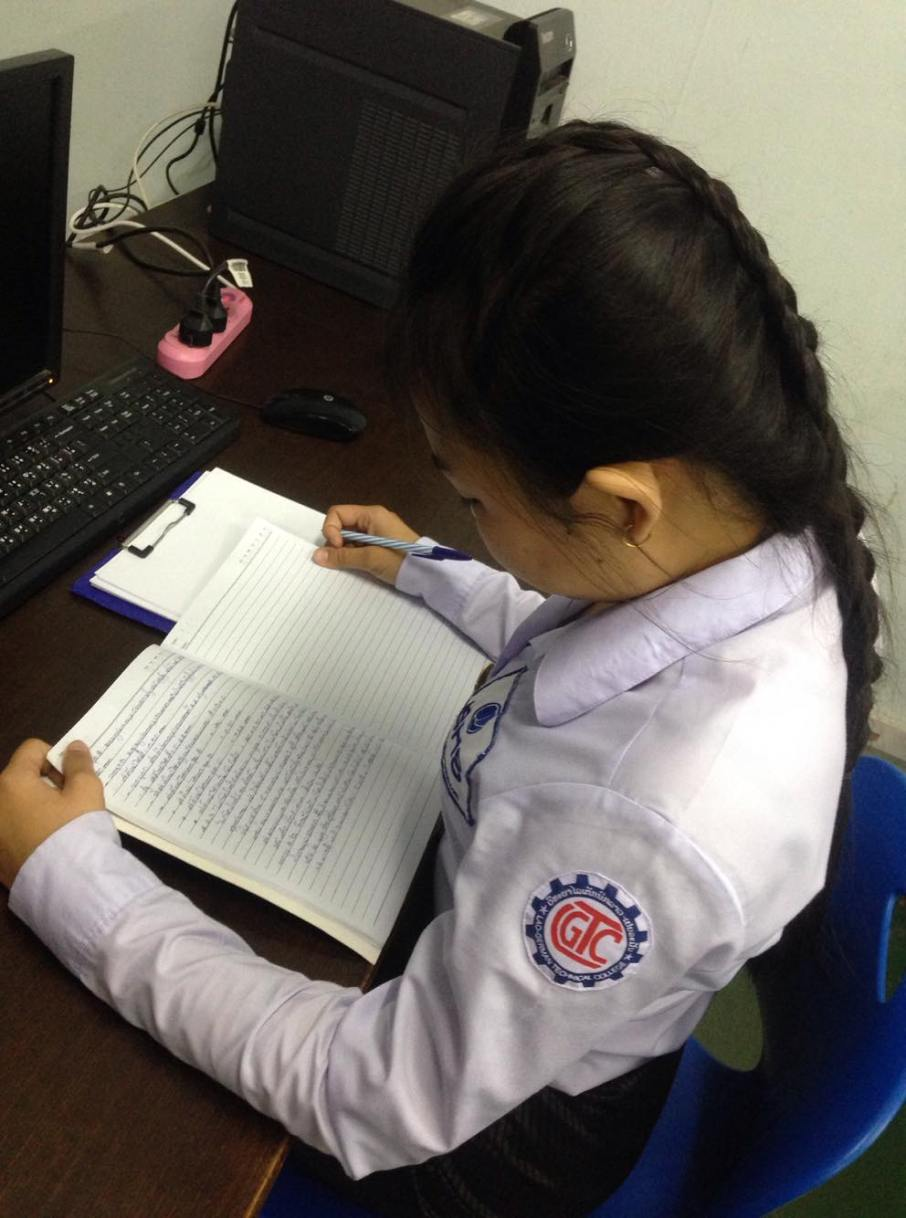Ms Somsanouk likes to read and write in English.