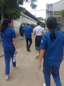 Ms Toukta walks to school with ther schoolmates.