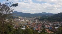 View from the plateau onto Sam Neua