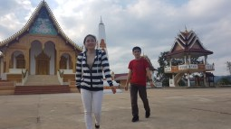 Khamsee and Bounphay in front of Wat On Teu...
