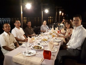 "Farewell and thank you dinner on the Mekong in the ""River View"" Restauranter."