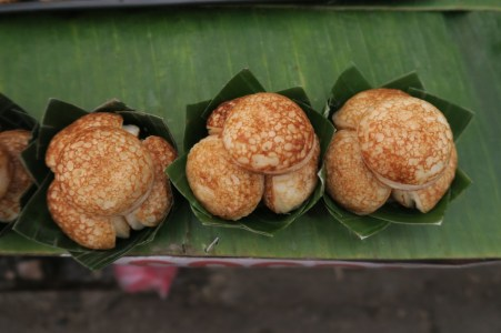 Coconut Pancakes in a banana leaf