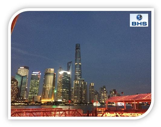 Shanghai's city center at night