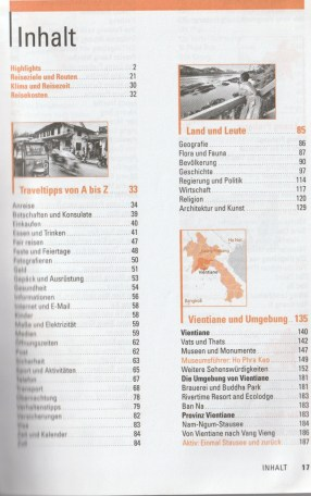 """Table of contents with tipps for travel - excerpt from """"Laos – Travel Handbücher"""", © 2015 MAIRDUMONT GmbH & Co. KG"""