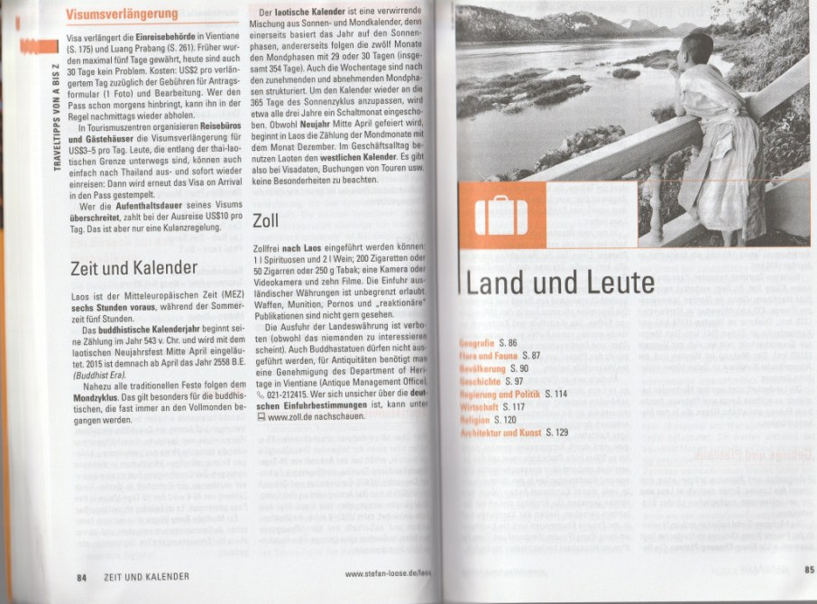 """Part of the """"travel tips"""" section - excerpt from """"Laos – Travel Handbücher"""", © 2015 MAIRDUMONT GmbH & Co. KG"""