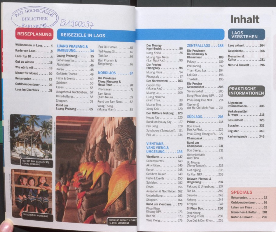 """Table of contents - excerpt from """"Lonely Planet Laos"""", © 2007 MAIRDUMONT GmbH & Co. KG"""