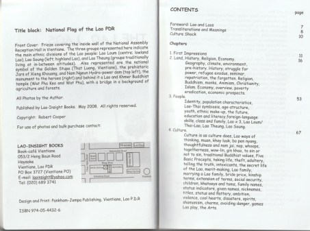 """Preface and table of contents - excerpt from """"The Lao, Laos... and You"""", © 2008 Robert Cooper"""