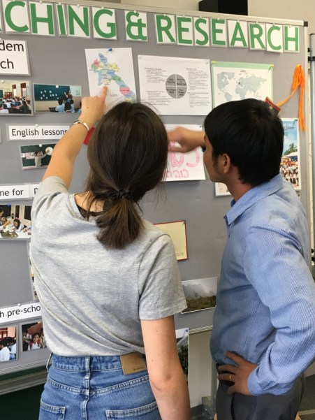 """Mr Napha Khothphouthone (SKU) and his """"buddy"""" (student helper) Christine Blersch look at the map of Lao PDR."""