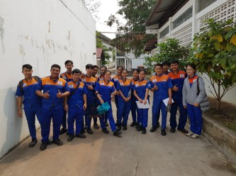 Electrical apprentices of the RTP in the school yard
