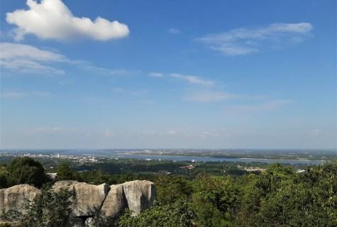 View over Mukdahan, the Mekong River, and Savannakhet
