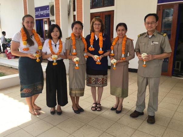 Rebecca Dengler, Miaoxing Ye (me), Prof. Martin, Ms Lanta Ketoukham, Mr Bounthong Sengvilaykham (Chancellor)