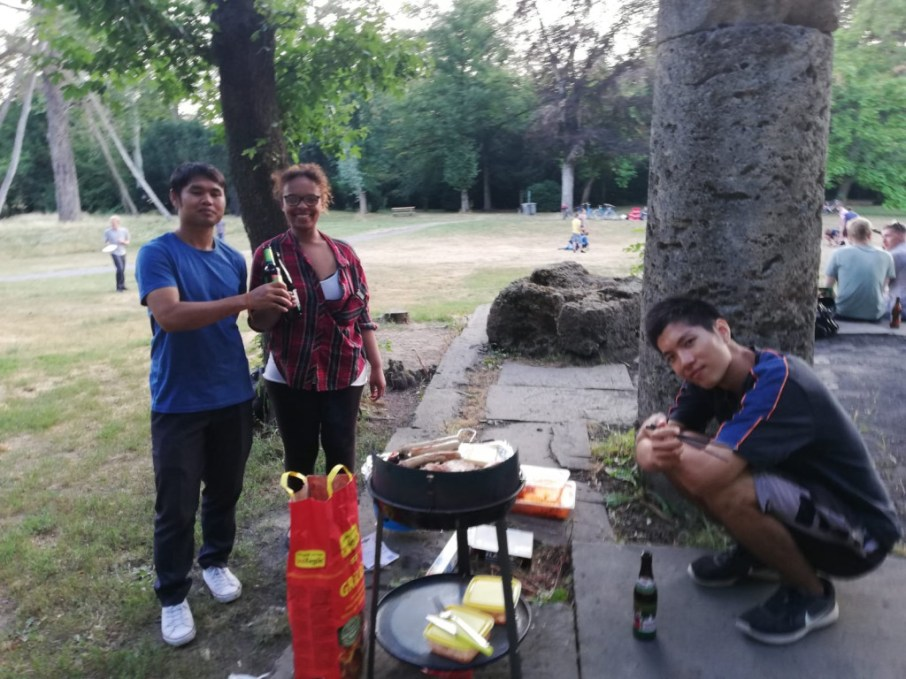 grill and drink beer for farewell party