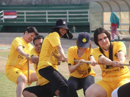 Tug-of-war at the Vientiane sport festival for universities