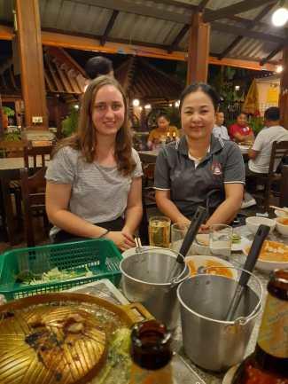Dr Phetsamone Khattiyavong and me (Rebecca Dengler) at the farewell dinner