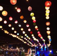 Beautiful Vientiane at night with different kinds of garlands...