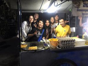 Laura, Jacqueline, Jiro, Melinda, Phi Ha, Lucas and our beloved salesman of the most delicious Lothi in Vientiane