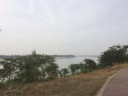 The Mekong riverside is a popular place to exercise by day ...