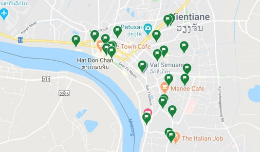 """All the green flags are cafés and restaurants we marked as """"places we want to go to""""."""