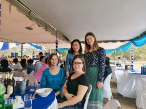 Lena, Celine, Ms Noy, and I at a Lao wedding