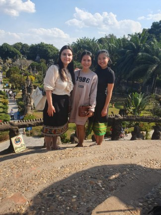 Ms Sounaly shows Laura and Phi Ha one of Vientiane's sights: Wat Xieng Khuan, the Buddha Park.
