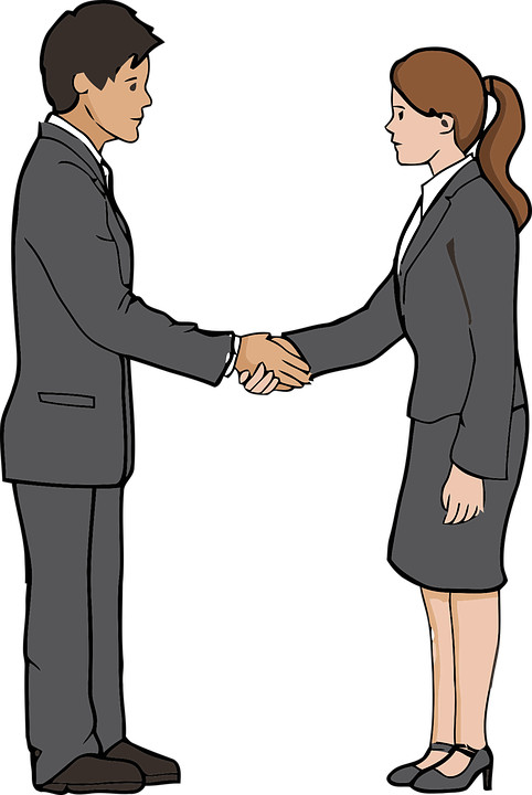 The way of greeting to stranger in Germany. https://pixabay.com/vectors/handshake-agreement-business-5522271/