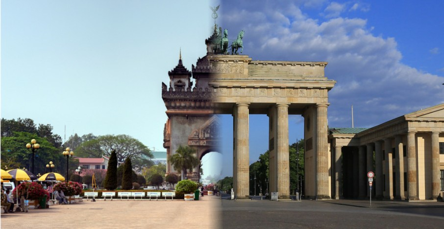 The Patuxay in Vientiane (left) and Brandenburg Gate in Berlin (right) are both considered national monuments of their respective countries.