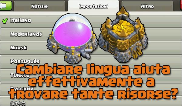 Cambiare lingua aiuta a trovare più risorse su Clash of Clans?