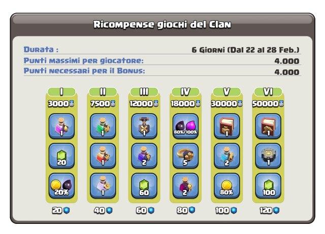 ClanGamesRewards Feb 2 - Giochi del Clan 22-28 Febbraio: premi, informazioni, dettagli!