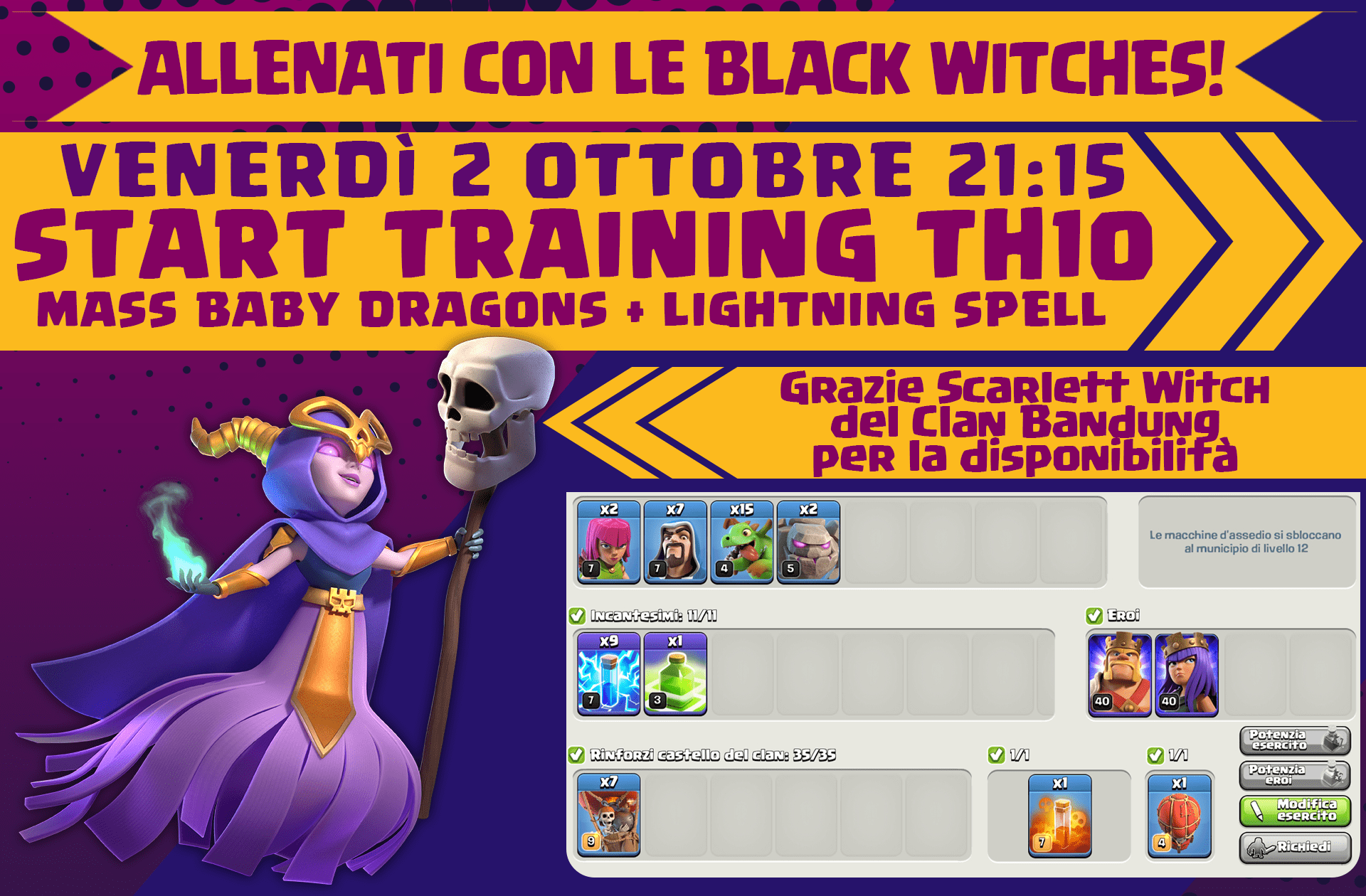 Training con le Black Witches, mass babydragons + lightning spell per TH10
