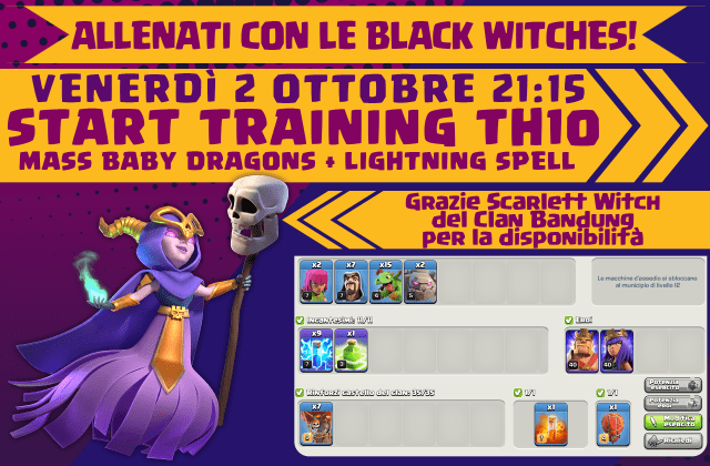 2ottobre 1024x672 - Training con le Black Witches, mass babydragons + lightning spell per TH10