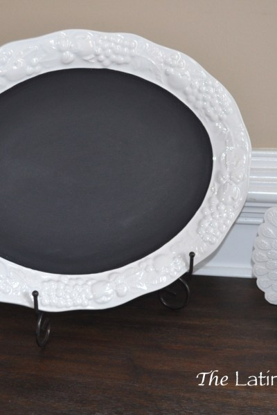 DIY serving dish to chalkboard