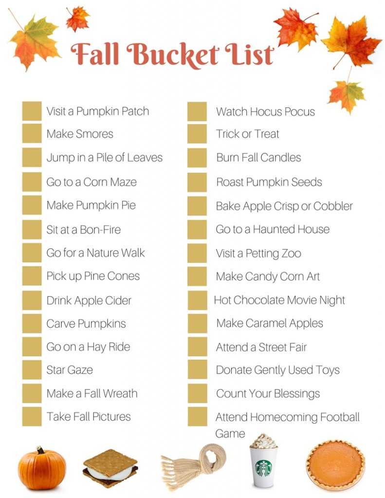 Fall Bucket List 791x1024 Fall Bucket List Free Printable