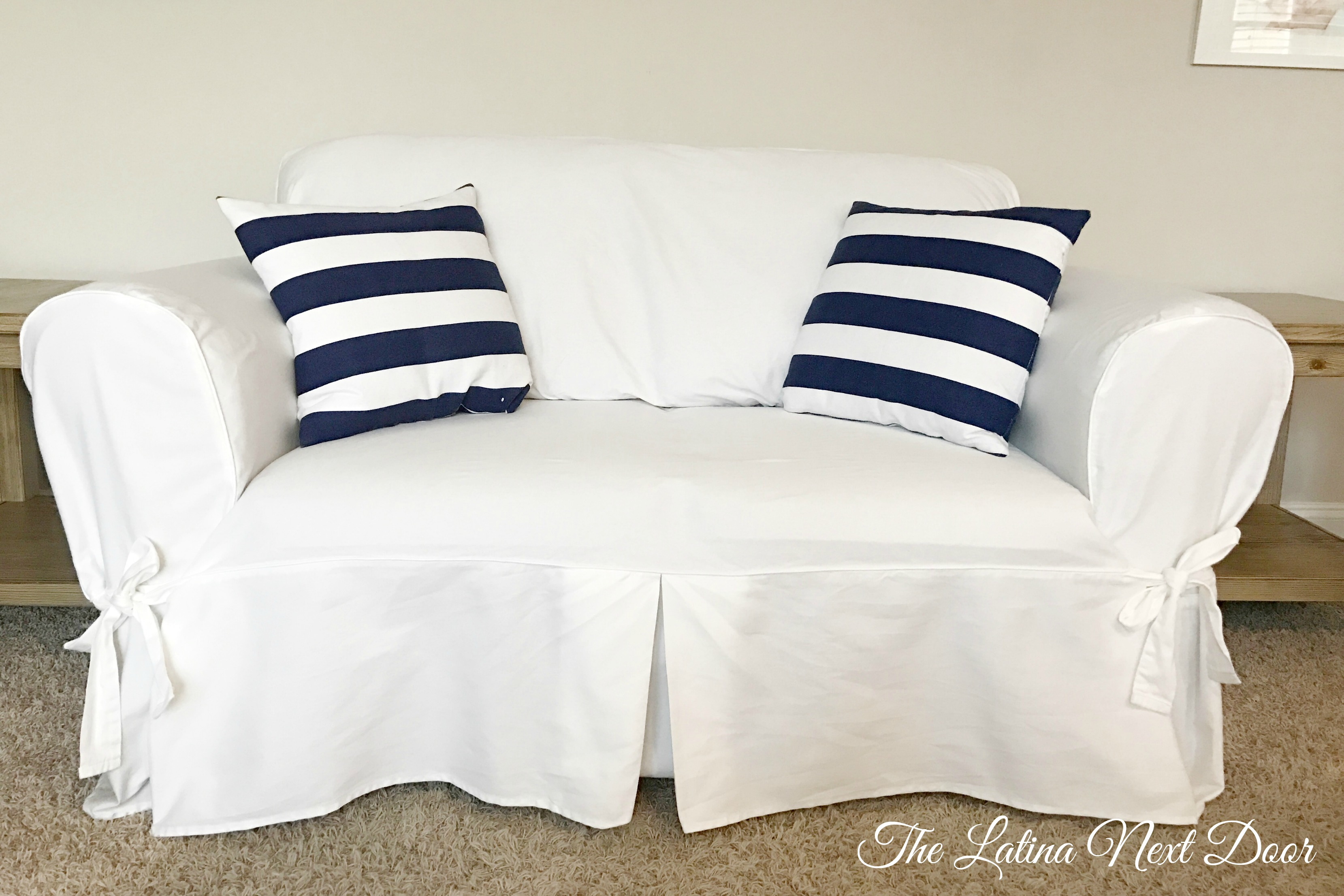 slipcover sofa bed bath beyond plum colored sofas pottery barn white look for less - the latina next door