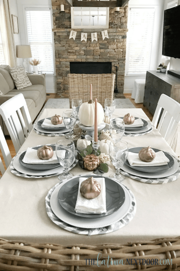 Neutral Farmhouse Fall Tablescape 3 Neutral Farmhouse Fall Tablescape