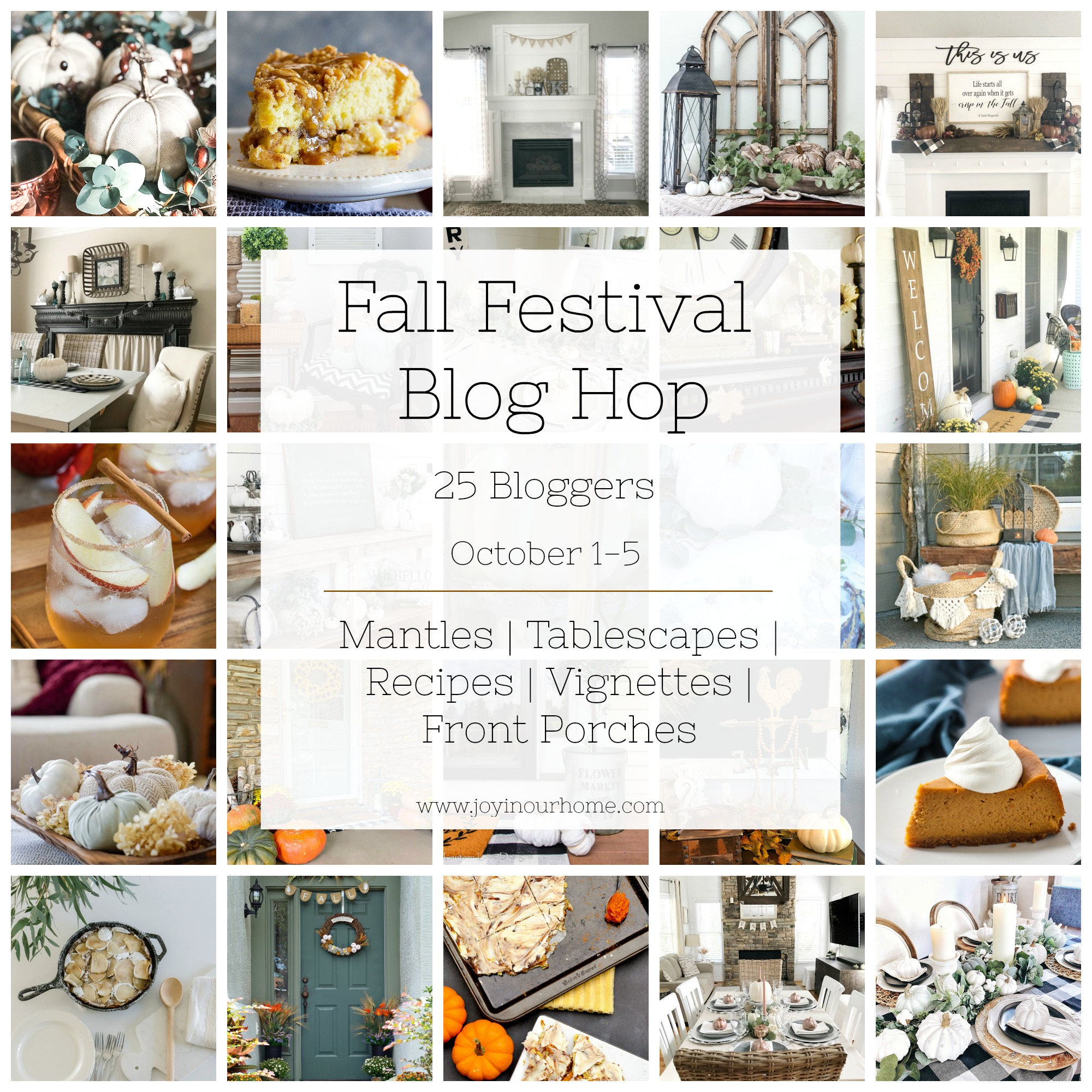 fall blog hop graphic Neutral Farmhouse Fall Tablescape