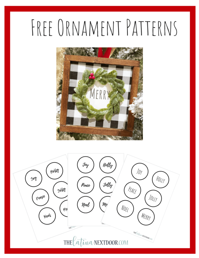 %name Free Farmhouse Ornament Pattern