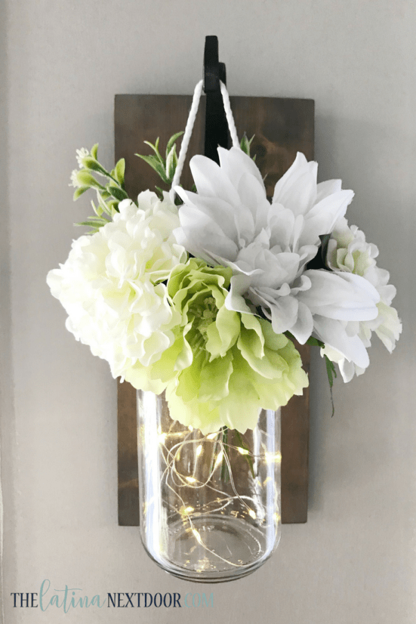 DIY Mason Jar Floral Sconce 15 Farmhouse Inspired Spring Decor DIYs